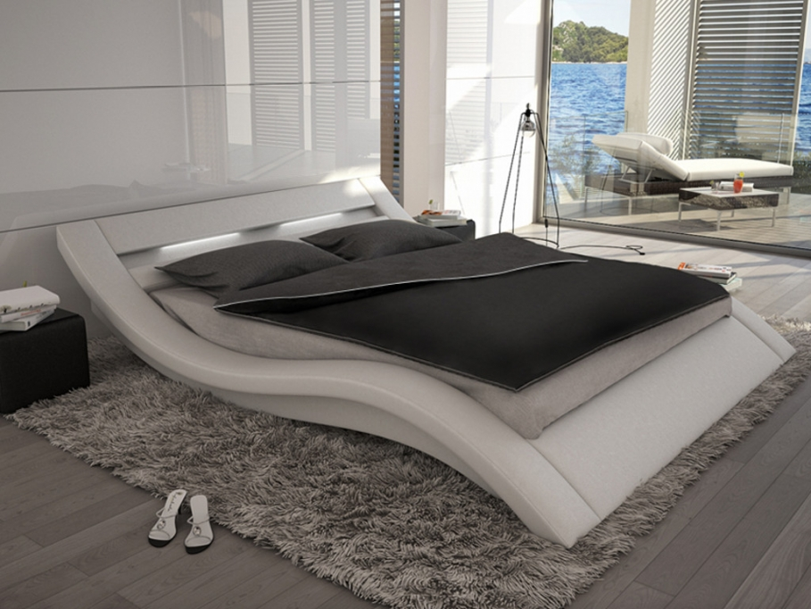 lit ondulis 160x200cm simili blanc avec leds lit vente unique ventes pas. Black Bedroom Furniture Sets. Home Design Ideas