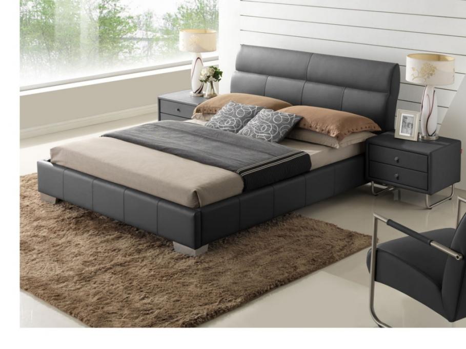 lit 160x200cm wanda cuir de buffle noir lit vente unique ventes pas. Black Bedroom Furniture Sets. Home Design Ideas
