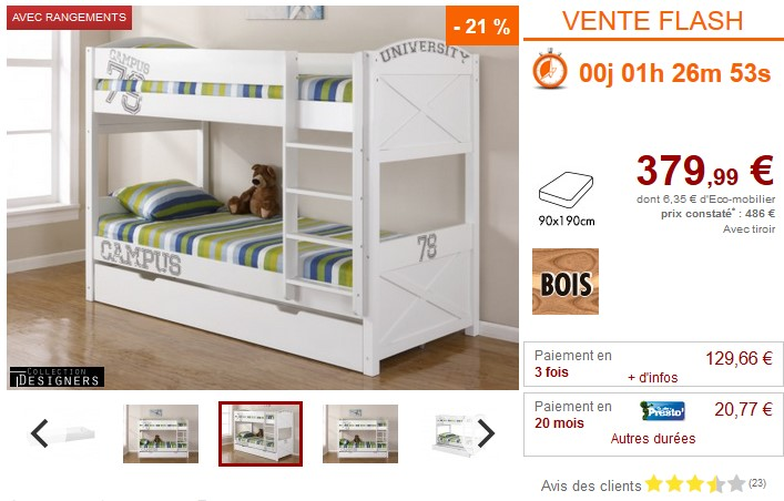 vente flash lit enfant vente unique lits superpos s avec. Black Bedroom Furniture Sets. Home Design Ideas