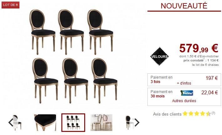 Lot de chaises Médaillon LOUIS XVI Velours