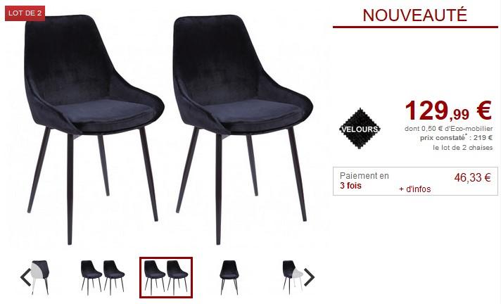 Lot de 2 ou 6 chaises gondole MASURIE Velours Noir