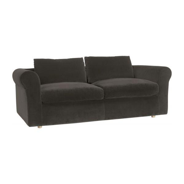 louis canap 3 places gris souris velours habitat canap habitat ventes pas. Black Bedroom Furniture Sets. Home Design Ideas