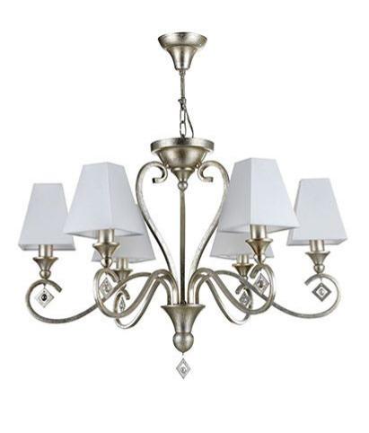 Lustre design 6 lampes ANITA en métal platine et tissu blanc
