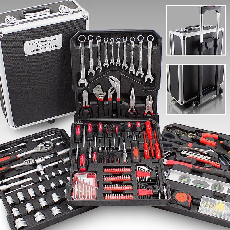 Mallette XXL avec 399 outils valise à roulettes coffret bricolage - ManoMano