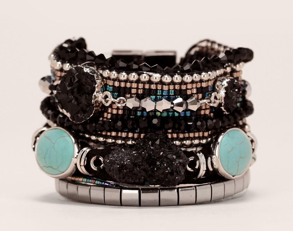 Manchette noire Carbone Hipanema cordes/pierres/perles noir/turquoise - Bijoux Monshowroom