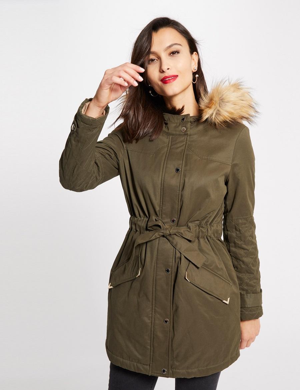 Manteau cintré poches à rabat Kaki Morgan