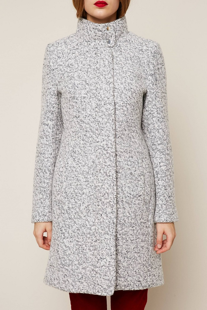 Vila Manteau long épais gris chiné pas cher - Manteau Femme Monshowroom