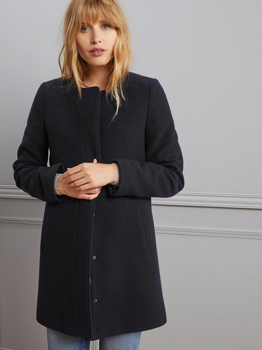 Manteau sans col Femme en Drap de laine noir Cyrillus
