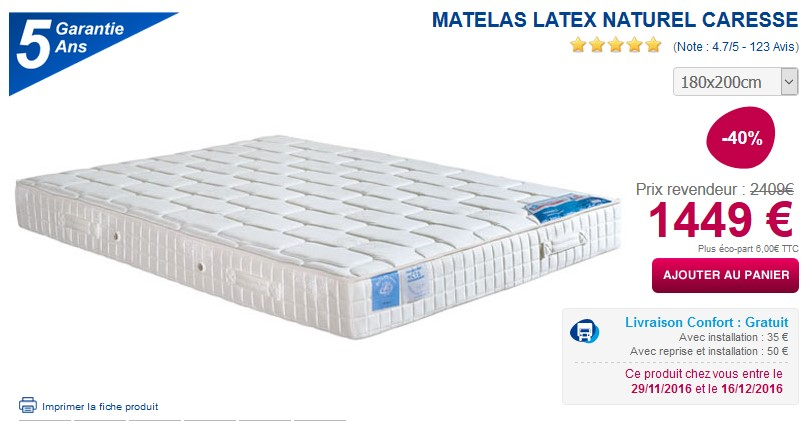 matelas 100 latex naturel caresse pas cher matelas ma literie ventes pas. Black Bedroom Furniture Sets. Home Design Ideas