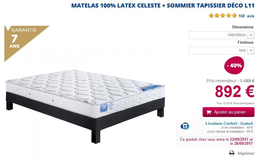 Ensemble literie Matelas latex tres ferme CELESTE + Sommier lattes L11 - MaLiterie