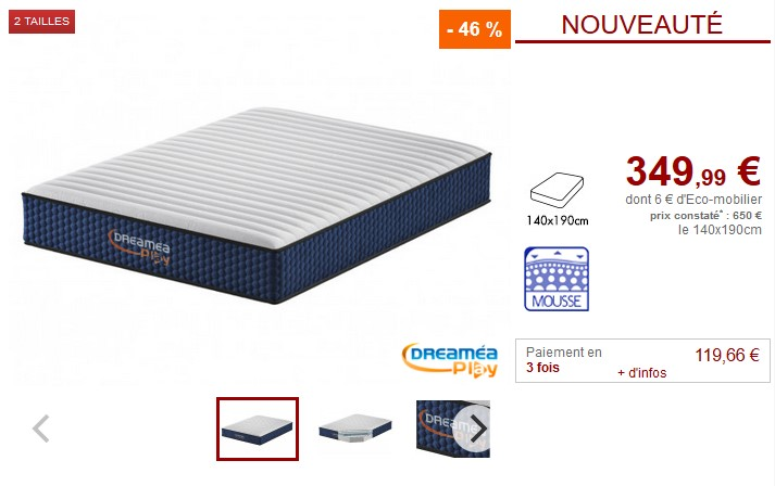 Matelas mémoire 7 zones ACTIV DREAM DREAMEA PLAY - Vente Unique
