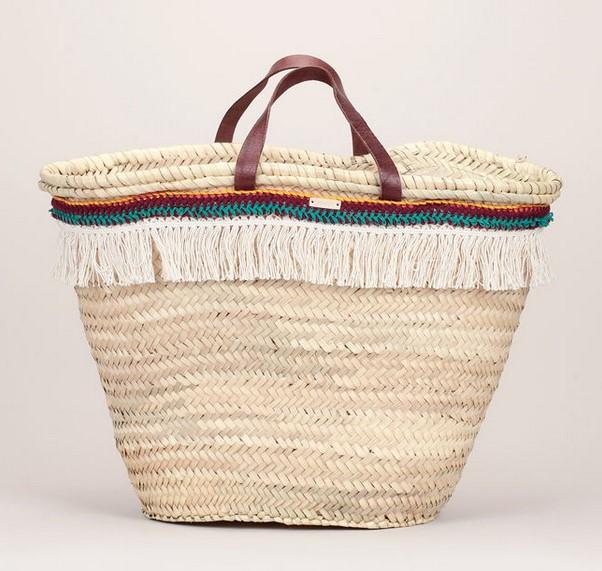 Sessun Pacomio Maxi panier de plage tressé beige détails détails bordeaux/vert et franges