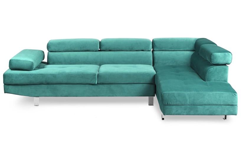 MENZZO Canapé d'angle Alfa avec têtières relevables Velours Vert