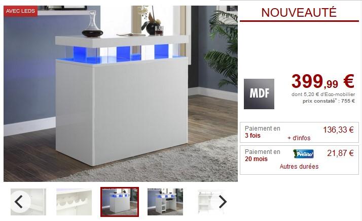 Meuble de bar FABIO MDF laqué blanc LEDs 2 niches - Vente Unique