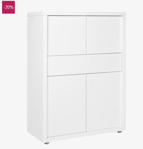 Genna meuble de rangement 4 portes blanc soldes meubles for Meuble 4 portes but