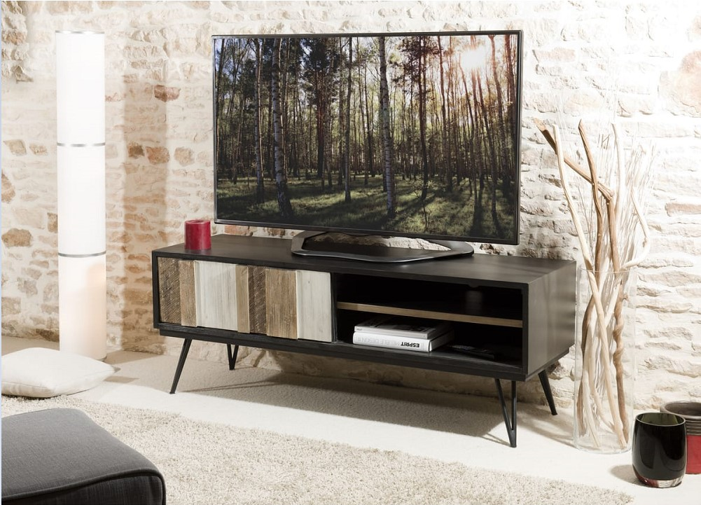 Meuble tv 1 porte coulissante 2 niches CARLA