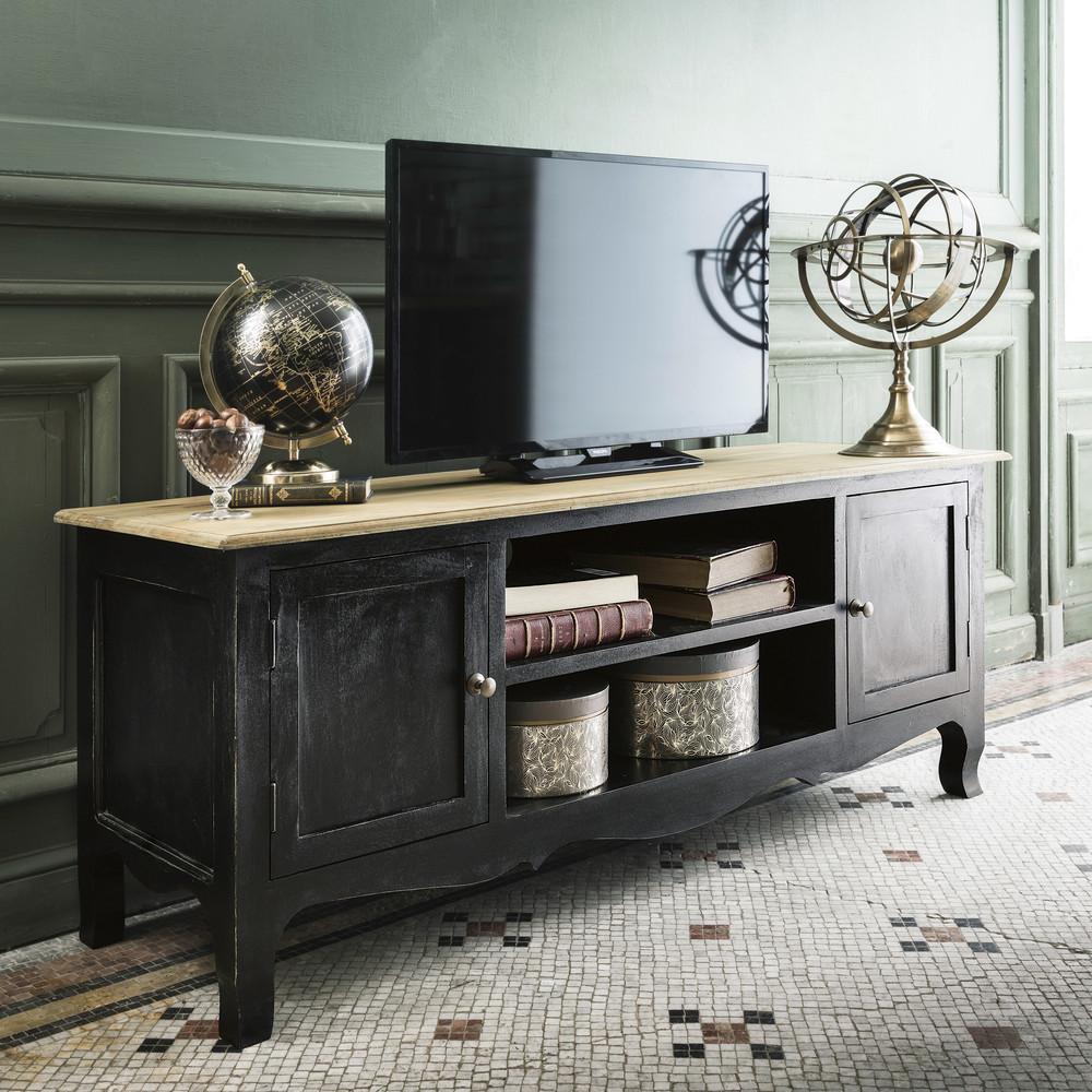 Meuble TV 2 portes Versailles en manguier noir - Maisons du Monde
