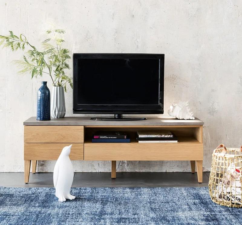 Meuble TV 3 tiroirs Grey en chêne massif et béton - Maisons du Monde