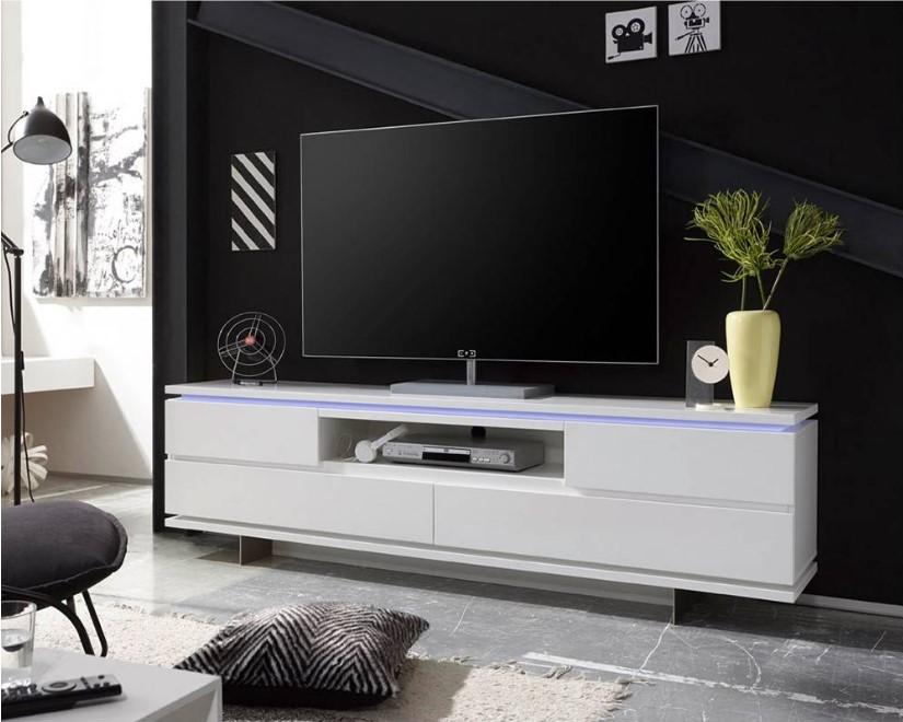 Meuble TV BALE laqué blanc mat