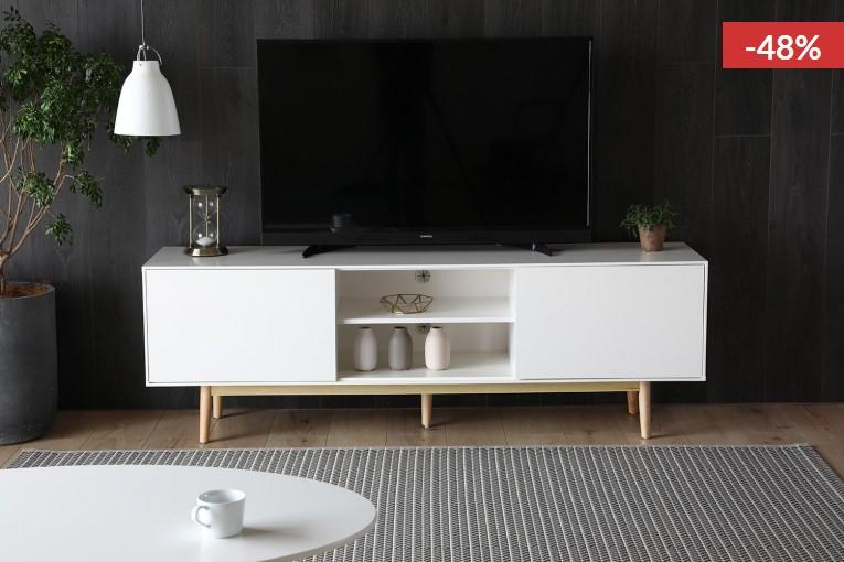 Kotka Meuble TV Scandinave blanc avec rangements - Concept Usine