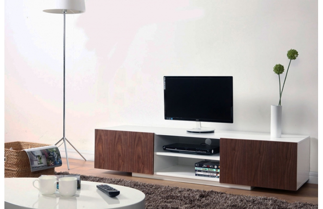 meuble tv design blanc et noyer serena meuble tv miliboo. Black Bedroom Furniture Sets. Home Design Ideas