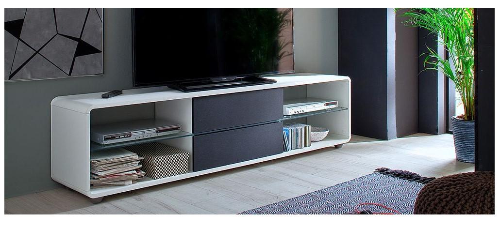 Meuble TV design DISCI blanc et tiroirs anthracite - Miliboo