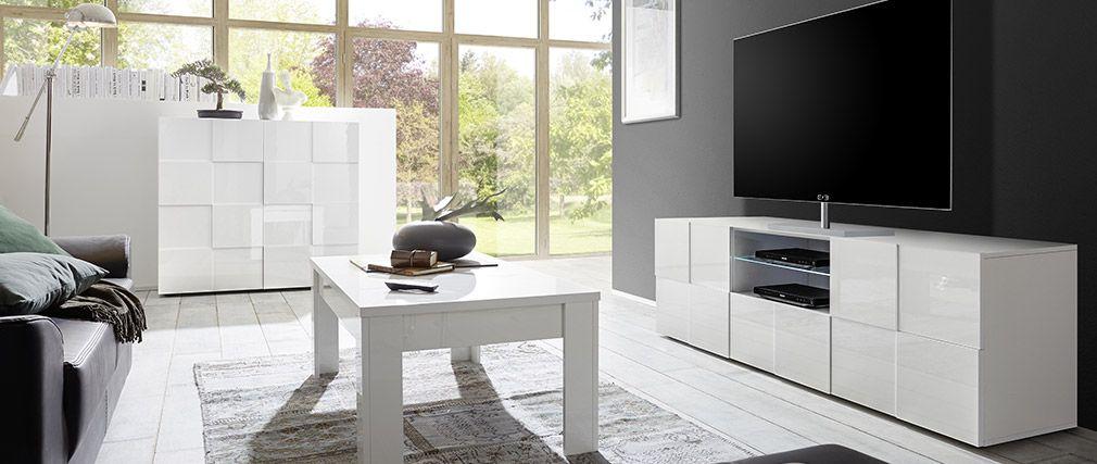 Meuble TV design laqué blanc KUBE - Miliboo