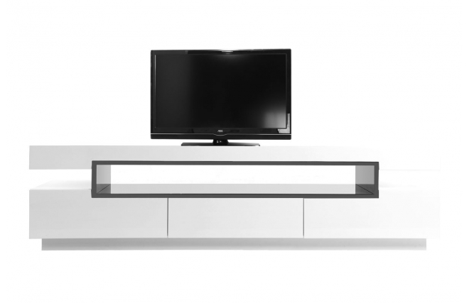 Meuble tv design laqu blanc livo meuble tv miliboo for Photo meuble tv design