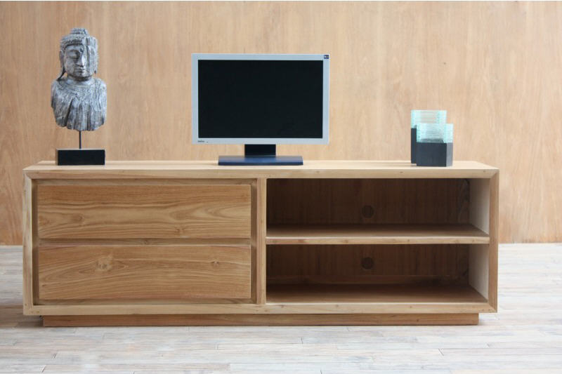 meuble tv design teck massif tektona meuble tv miliboo ventes pas. Black Bedroom Furniture Sets. Home Design Ideas