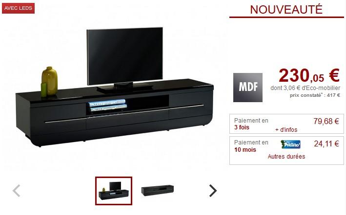 Meuble TV DESPINA à LEDs MDF Noir 2 portes & 1 tiroir - Vente Unique