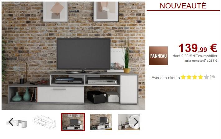Meuble TV extensible DARYL 2 portes Blanc & béton - Vente Unique