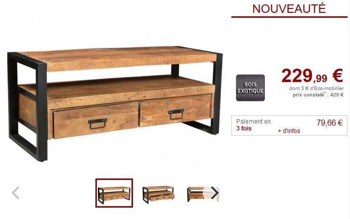 Meuble TV HARLEM 2 tiroirs et 1 niche Bois de manguier - Vente Unique