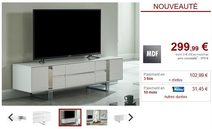 Meuble TV PETILLANTE 2 portes laqué blanc et métal - Vente Unique