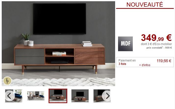 Meuble TV vintage TAMARA 2 tiroirs MDF Noyer et Gris - Vente Unique