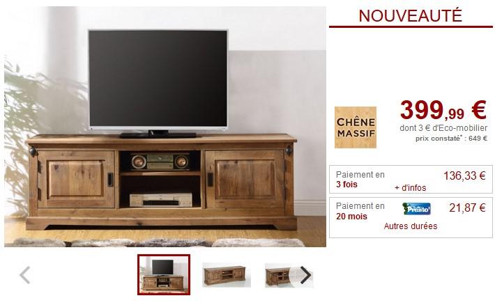 Meuble TV en chêne massif YSANDRE 2 portes et 2 niches - Vente Unique