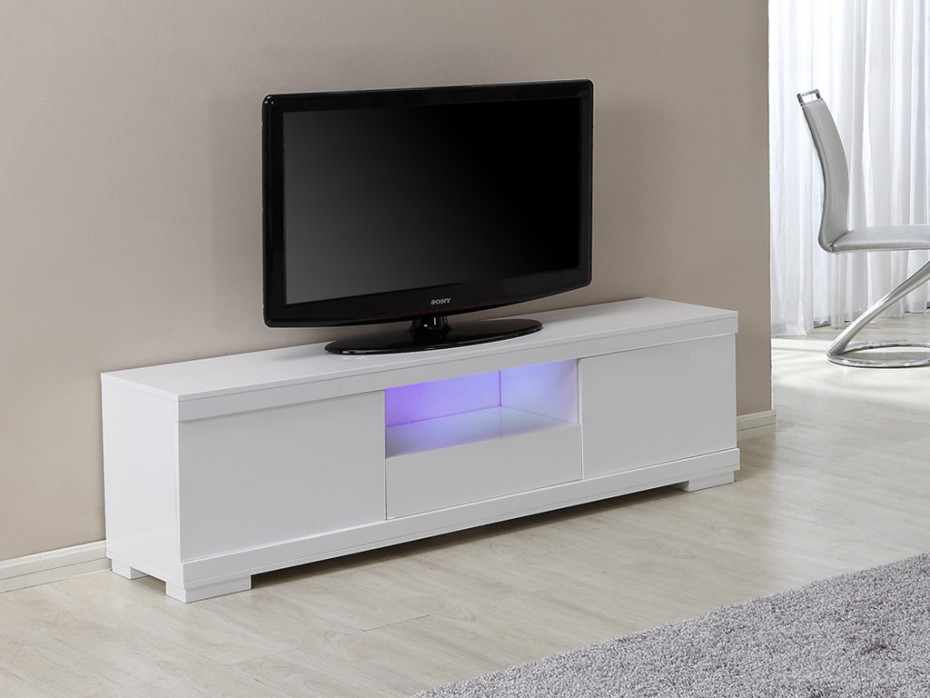 meuble tv pluton mdf laqu blanc leds meuble tv vente unique ventes pas. Black Bedroom Furniture Sets. Home Design Ideas