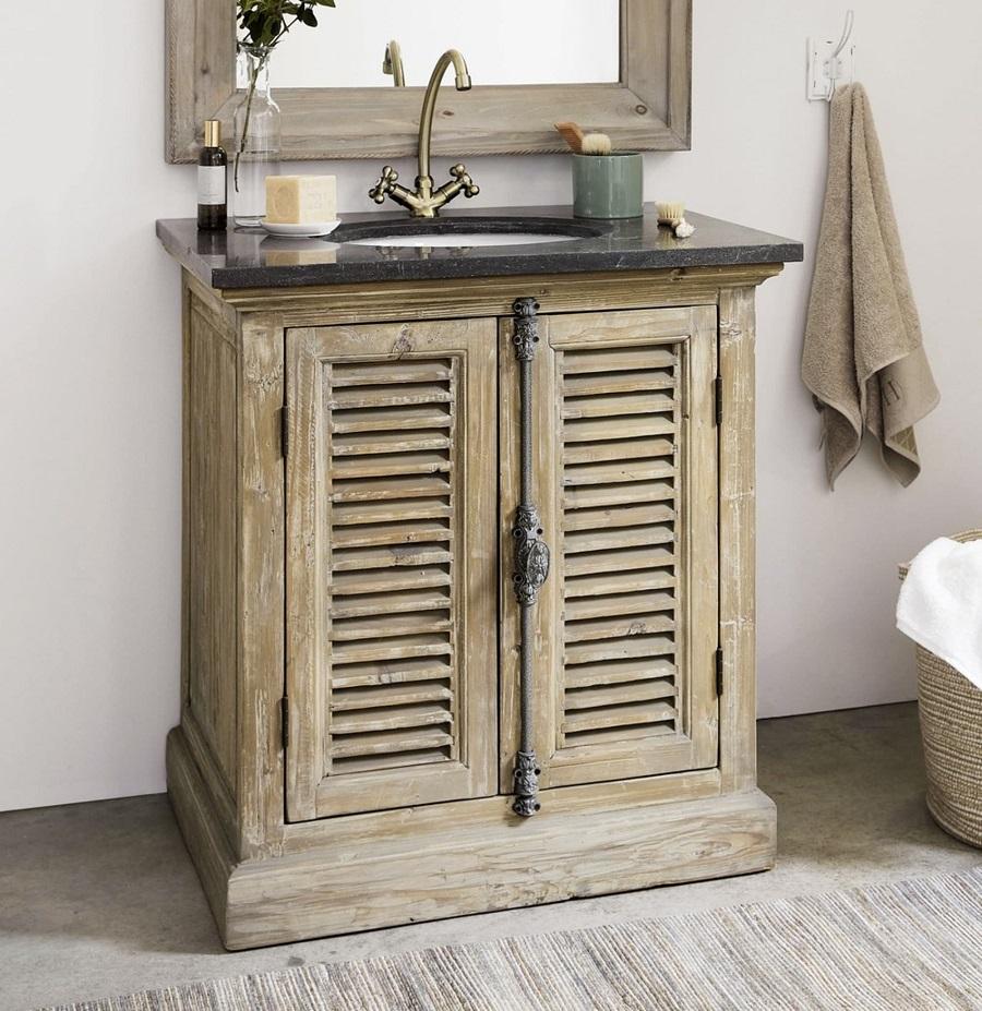 Meuble vasque Persiennes en pin recyclé et pierre bleue anthracite - Meuble  de salle de bain Maisons du Monde