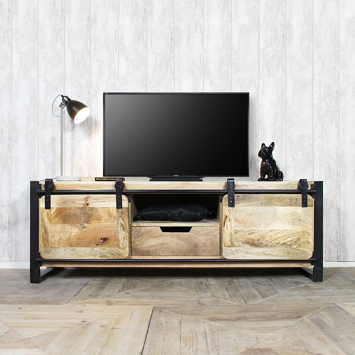 meuble tv industriel new york 2 portes made in meubles meuble tv rue du commerce ventes pas. Black Bedroom Furniture Sets. Home Design Ideas