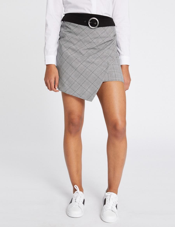 Mini-jupe croisée à carreaux Morgan