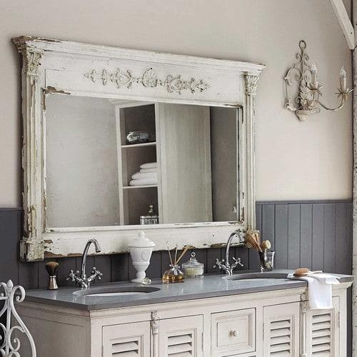 Miroir en bois blanc ALBANE Maisons de Monde