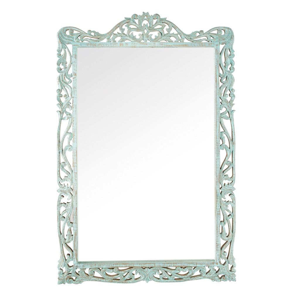 Miroir en manguier sculpté bleu Almenara - Maisons de Monde