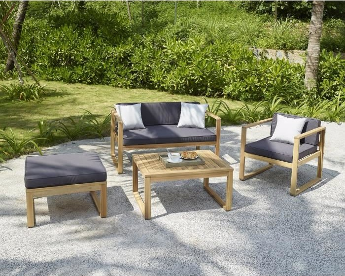 MOA Salon de jardin 4 places en bois d\'acacia pas cher - Salon de ...