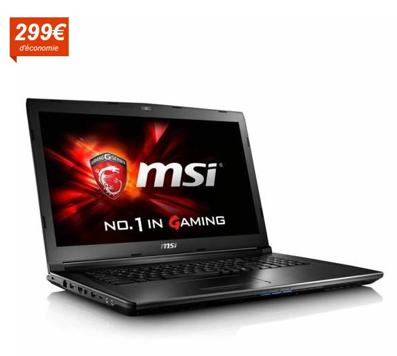 msi pc portable gamer gl72 7qf 1024xfr pas cher. Black Bedroom Furniture Sets. Home Design Ideas
