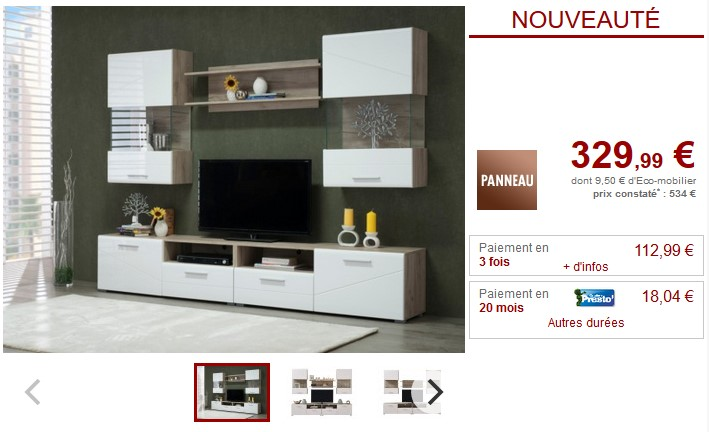 mur tv betina avec rangements pas cher meuble tv vente unique ventes pas. Black Bedroom Furniture Sets. Home Design Ideas