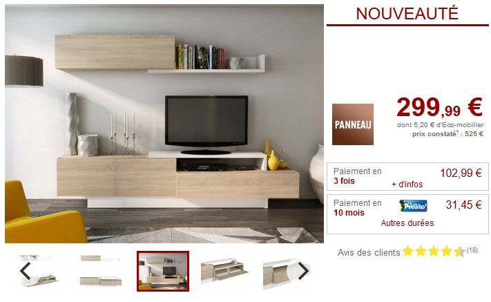 mur tv monty avec rangements pas cher meuble tv vente unique ventes pas. Black Bedroom Furniture Sets. Home Design Ideas