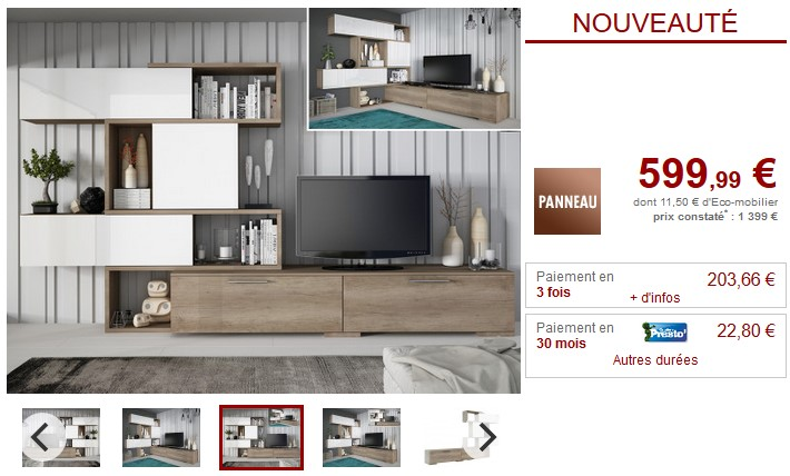 mur tv modulable avec rangements nicosia pas cher meuble tv vente unique ventes pas. Black Bedroom Furniture Sets. Home Design Ideas