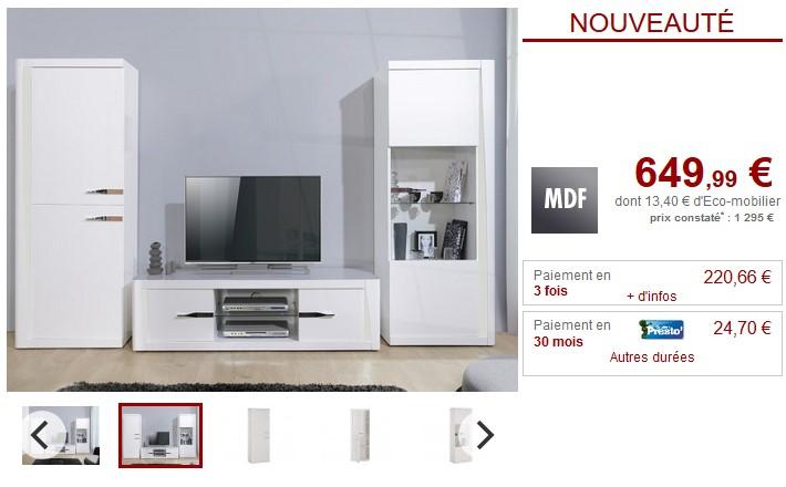 Mur TV SPENCER LEDs Blanc laqué - Vente Unique