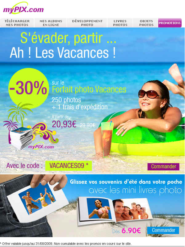Mypix Tirage -30% Pack Forfait Photo Vacances