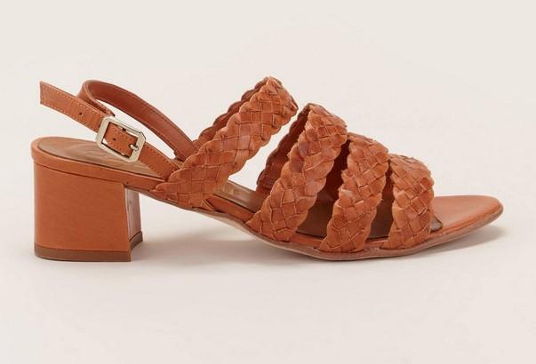 Naguisa Sandales à talons en cuir tressé marron
