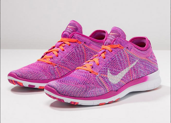Nike Performance FREE TRAINER FLYKNIT Chaussures d'entraînement et de fitness - fuchsia flash/white/hot lava/fuchsia glow